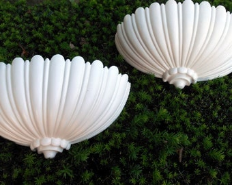 Large Pair Of Vintage, SYROCO, Wall Hangers, Wall Decor, Scallop Design, White, Hand Painted.