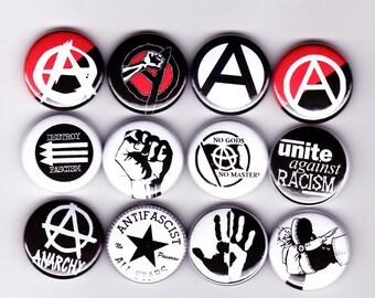 12 ANARCHIST badges! anarchy anti-fascist, anarchism, socialist democracy
