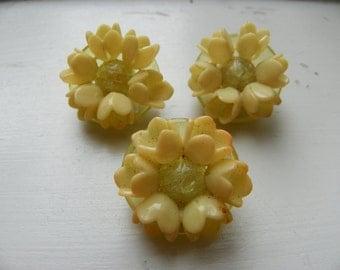 Celluloid Flower Buttons