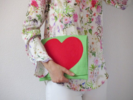 Green burlap clutch with red heart by Ema's Corner