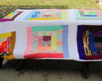 Afghan, king size blanket,crochet blanket,multicolor blanket,black,extra large blanket,knit blanket,throw,