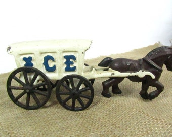 Die Cast Ice Wagon, Antique Toy, Cast Iron Toy, Vintage Toy, Horse and Wagon