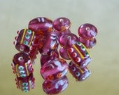 India Glass bead mix Dark Pink with yellow, red, and green accents