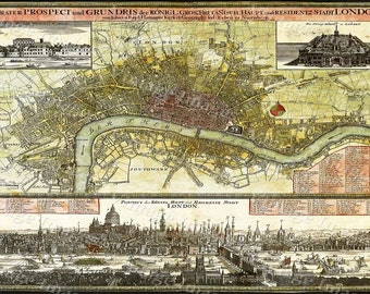 Old Map of London England Old London Map 1740 Large Antique Restoration Hardware Style English Map of London Fine Art Print wall Art Poster