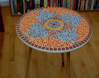 Red & Purple Mandala Glass Mosaic Table Top