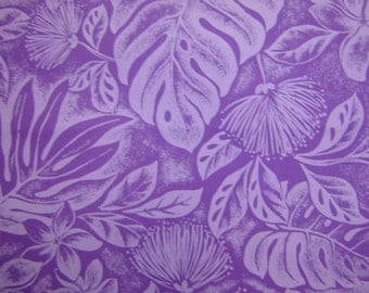 Hawaiian Fabric - Purple Floral Print With Leaves on Purple