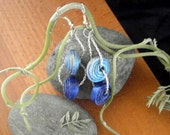 Blue dangle earrings with paper beads upcycled