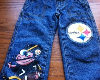Football Steelers Hand Painted Jeans