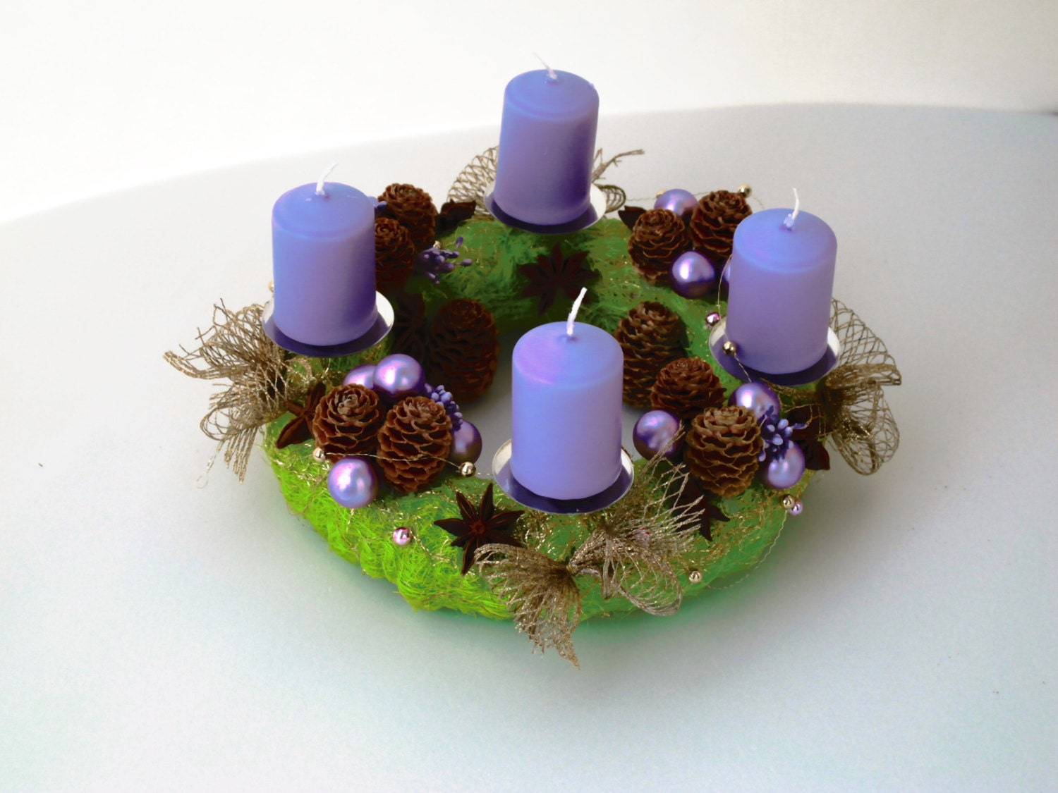 Advent wreath with candles- Home decor - Centerpiece - Holiday - Christmas - Green Gold and Lavender