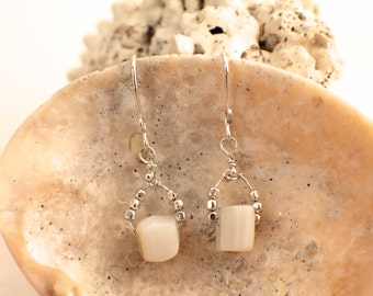 White Shell and Silver Earrings