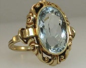 Sold-----------Chris Layaway Final Payment 1/8----------------------Retro Ornate 6ct Oval Aquamarine Ring 14k