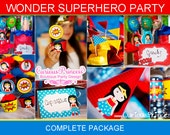 wonder Superhero 2 girl Printable party package labels wrappers and toppers super hero woman
