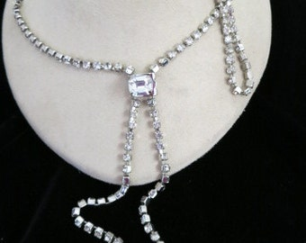 Vintage Unique Long Rhinestone Slide Necklace   Slide Opens To Shorten Or Lengthen Necklace