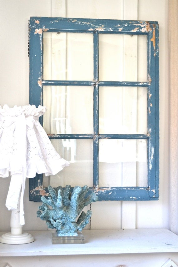 Heavy Old Vintage Farm Window Wall Decor Rustic Vintage Cottage