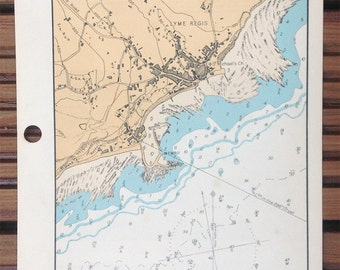 Vintage WW2 Admiralty chart of LYME REGIS, Dorset, England 1943