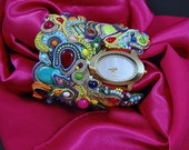 Rainbow Clock cuff woman watch bracelet, multicolor fancy glamour amazing soutache jewelry  trends