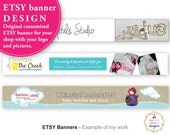 Custom Shop Banner, Personalized Banners For Etsy, Facebook Or Your Blog To Brand Your Small Business