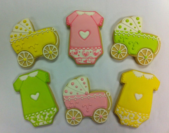 baby shower cookie favors onesie cookies unisex baby shower cookies