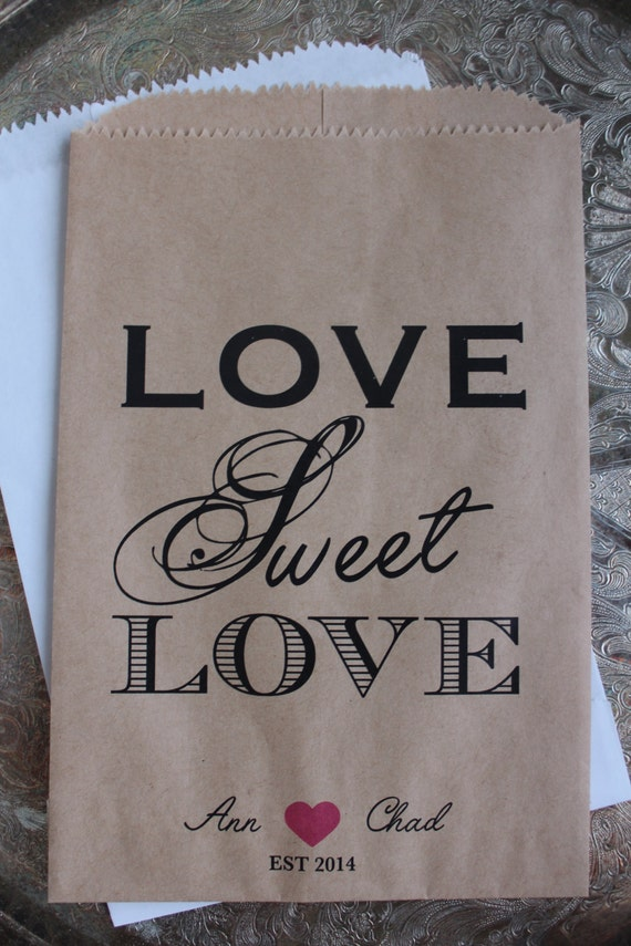 Wedding Gift Bags Etsy : Wedding Favor Bags-Love Sweet Love - Wedding Favor Bag
