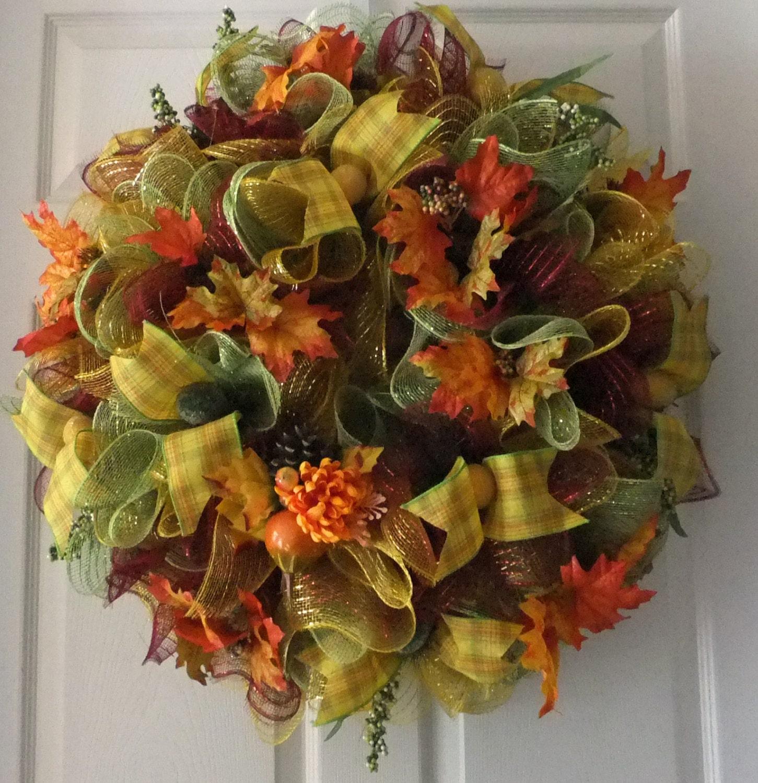 Fall Doorways: Beautiful Fall Door Wreath Deco Mesh Stunning Welcome