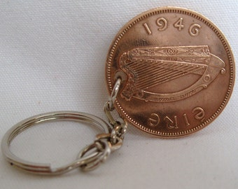 1946 1d Penny Pingin Irish Coin Keyring Key Chain Fob 71st Birthday