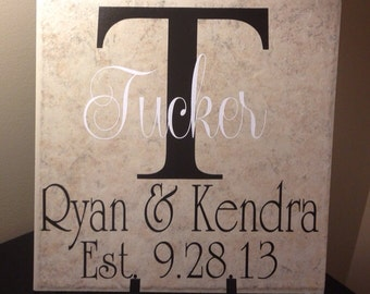 Personalized 12x12 Wedding, Anniversary or New Home Family Tile, Bridal Shower Gift, Wedding Gift, Anniversary Gift