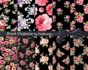 BLACK ELEGANCE - Instant Download, Digital Collage Sheet - Digital Paper - Floral Paper - Roses on Black - Scrapbook Paper - Decoupage Paper