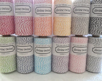 Bakers Twine 240 Yards Spool-Divine Twine-Cotton-4 ply-Biodegradable-Red-Coral-Orange-Yellow-Green-Blue-Teal-Purple-Pink-Brown-Grey-Black