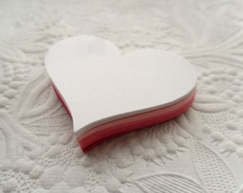 25 White, Light Pink, Pink, Bright Pink, White Heart Die Cuts or Gift Tags-Favor Tags-Hang Tags-Wedding Tags-Shower Tags--Valentine's Day