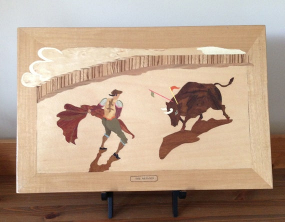 Vintage marquetry The Matador wood inlay picture wood art plaque