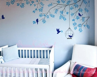 Wall Decasl Wall Sticker Baby Nursery Decals-Branch Decal with Birdcage Birds Decal for Kids room-DK102