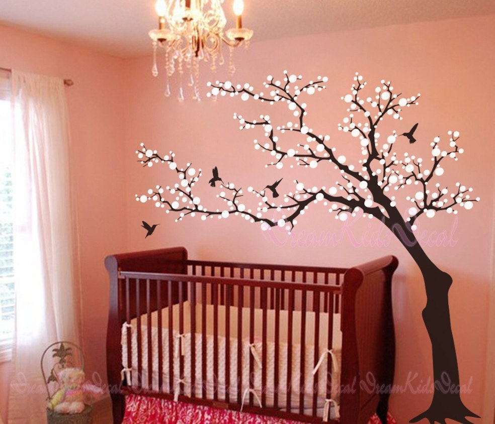 Tree wall decal wall sticker baby nursery decals cherry for Baby nursery tree mural