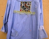 L to Plus Splash of Color Blue Cotton & Lace Embroidered Tunic Upcycled