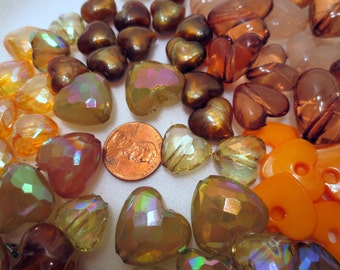 Earth Colored Heart Beads,  81 pieces, Hard Plastic, some faceted,  jewelry making jewellery supply 25mm x 24mm to 13mm x 13mm