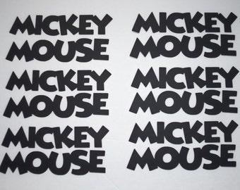 "6 Black Mickey Mouse words 3"" Die Cut Disney Scrapbook Punchies Punch Cricut Minnie DIY Confetti"