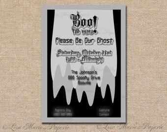 halloween invitation, handmade digital invite, halloween party ghost invitation, halloween party invite - Digital File - DIY PRINTABLE