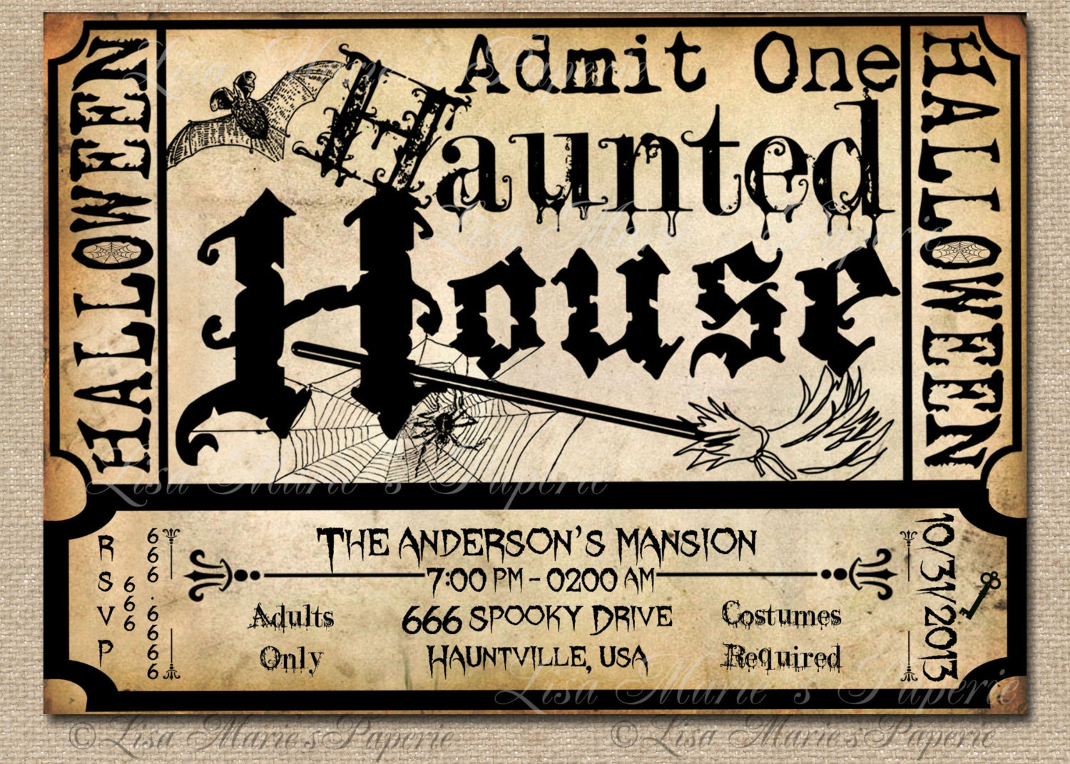 Items Similar To Halloween Haunted House Ticket Invitation