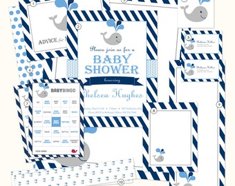 Whale Baby Shower Printables