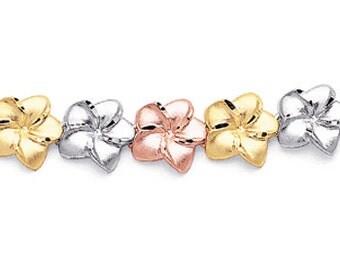 14k Tricolor Plumeria Bracelet, Plumeria Bracelet, Tricolor Plumeria Bracelet, Tricolor Bracelet, Bracelet, Floral Bracelet, Floral