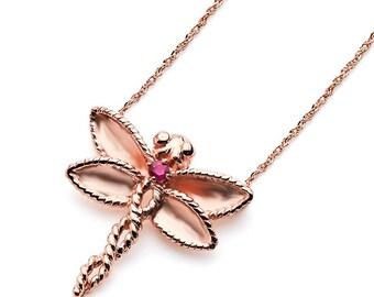 Dragonfly Necklace, Gold Dragonfly, Dragonfly, Dragonfly jewelry, Dainty Jewelry, Ruby necklace, Animal Jewelry, Dragonfly pendant