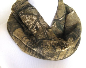 unisex Camo Infinity Scarf -  Realtree brand camouflage Jersey Knit - ChevronScarf
