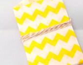 Yellow Chevron Paper Bag, Itty Bitty Bags, Small Favor Bag, Mini Treat Bags, Packaging