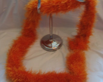 Fun Fur Knit Scarf - Orange