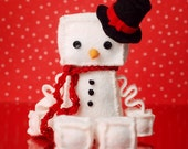 Christmas Snowman Plush Robot with Top Hat and Red Crochet Scarf - GinnyPenny