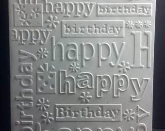 Happy Birthday Embossed Card Set/Birthday Card/Note Cards