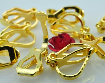 100 pcs of Gold plated ear clip in 8mm WideX 12mm long