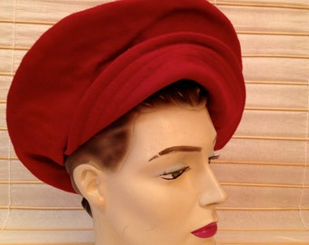 60's Dark Red Wool Hat made in Italy