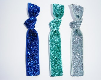 Set of 3 Glitter Hair Tie Package by Crimson Rose Cottage - Blue, Turquoise and Silver Glitter Hair Ties that Double as Bracelets