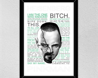 Breaking Bad Poster // Walter and Jesse -- Heisenberg & Pinkman // Quotes // Christmas Gift