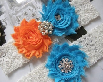 Something Blue / Garter / Wedding Garters / Orange & Blue / Bridal Garter / Toss Garter / Wedding Garter Set / Vintage Inspired Lace Garter